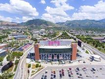 Rice–Eccles Stadium aerial view Salt Lake City, Utah, USA. Aerial view of Rice–Eccles Stadium in University of Utah in Salt Lake City, Utah, USA. It is the Stock Photo
