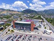 Rice–Eccles Stadium aerial view Salt Lake City, Utah, USA. Aerial view of Rice–Eccles Stadium in University of Utah in Salt Lake City, Utah, USA. It is the Stock Image