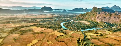 Aerial view of a rice fields in rocky mountain valley and river Stock Photography