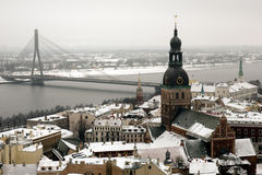 Aerial view of Riga. In the winter. The temperature at the time was -20C Stock Photos