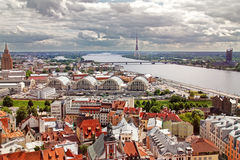 Aerial view of Riga old town, city market and river Daugava Royalty Free Stock Image