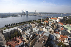 Aerial view of Riga old town Stock Photos