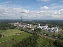Aerial view of Riga TEC -2 Electricity power station drone top. View Stock Photography