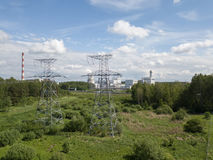 Aerial view of Riga TEC -2 Electricity power station drone top. View Stock Image