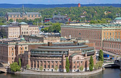 Aerial view of Riksdag (parliament) building in Stockholm, Sweden Royalty Free Stock Images
