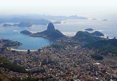 Aerial view of Rio De Janeiro, Brazil. Dramatic high altitude aerial view of Rio De Janeiro and the rugged Atlantic coast Royalty Free Stock Photography