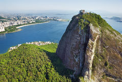 Aerial view of Rio De Janeiro, Brazil. Dramatic aerial view of Rio De Janeiro with Sugarloaf Mountain in the foreground Royalty Free Stock Images