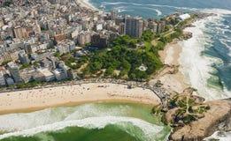 Aerial view of Rio De Janeiro, Brazil. Aerial view of Rio De Janeiro's famous beaches, parks and cityscape Stock Photo