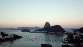 Aerial view of Rio de Janeiro, Brazil. Sugar loaf mountain and Botafogo beach. Christ the redeemer