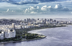 Aerial view of Rio de Janeiro Downtown with dramatic clouds. In Brazil royalty free stock images