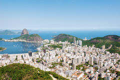 Aerial View of Rio De Janeiro. Looking towards Sugarloaf Mountain and the Atlantic Stock Photos