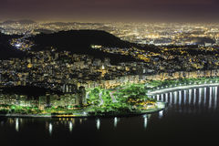 Aerial view of Rio De Janeiro by night Stock Photo