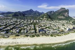 Aerial view of Rio De Janeiro's Barra Da Tijuca beachfront. With Pedra da Gavea Mountain, Brazil royalty free stock photography