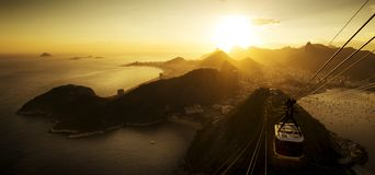 Aerial View of Rio de Janeiro from the Sugarloaf Mountain. By Sunset, Brazil Royalty Free Stock Photo