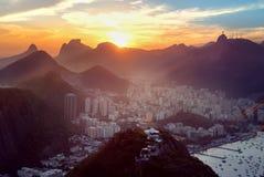Aerial view of Rio de Janeiro with Urca and Corcovado mountain and Guanabara Bay - Rio de Janeiro, Brazil stock images