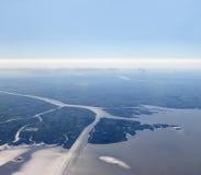 Aerial view of Rio de la Plata Royalty Free Stock Images