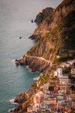 Aerial view of Riomaggiore and Via dell`amore Stock Image