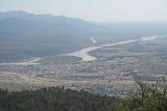 Aerial view of Rishikesh and Ganga India. Birds eye view of the town of  Rishikesh and the river Ganga, India Royalty Free Stock Photo