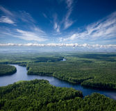 Aerial view the river Royalty Free Stock Photo