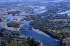 Aerial view of the river. Across the valley Stock Images