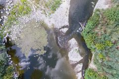 Aerial view of a river. In a decidous  temperate forest Royalty Free Stock Image
