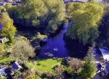 Aerial view of River Avon in Warwick, Warwickshire, UK royalty free stock photo