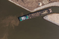 Aerial view of a river barge Royalty Free Stock Photography