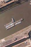Aerial view of a river barge in Poland Stock Photography