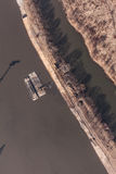 Aerial view of a river barge in Poland Stock Image