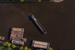 Aerial view of a river barge Stock Image