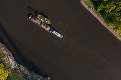Aerial view of a river barge Royalty Free Stock Photos