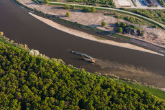 Aerial view of a river barge Stock Photography