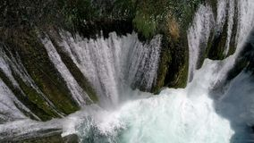 Aerial view on river with canyon and waterfalls stock footage