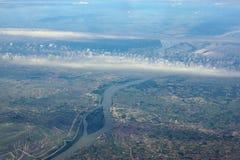 River Danube, Hungary. Aerial view of the River Danube royalty free stock photo