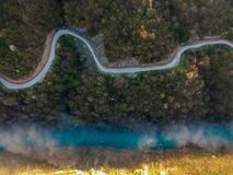 Aerial view of river Drina in Bosnia and Herzegovina. Europe stock images