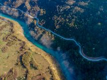Aerial view of river Drina in Bosnia and Herzegovina. Europe stock photo