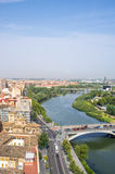 Aerial view of the river Ebro, bridges and Zaragoza city Stock Image