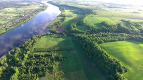 Aerial view of river in the fields stock video footage