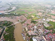 Aerial view of the river in the fisherman village. Kedah,Malaysia -20-05-2019 : Aerial view of the fisherman village in Asia,Malaysia royalty free stock image