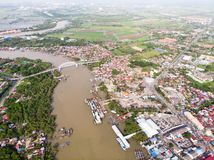 Aerial view of the river in the fisherman village royalty free stock image