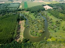 Aerial view of river Hernad in Hungary royalty free stock image