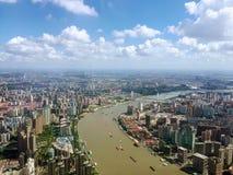 River Huangpu aerial view, Shanghai royalty free stock photos