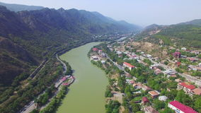 Aerial view of river Kura near Mtskheta stock video