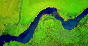 Aerial view of a river and landscape 4k. Aerial view of a beautiful river and landscape 4k stock video footage