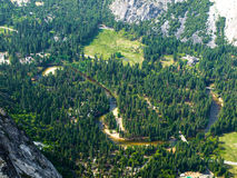 Aerial view of river Merced in Yosemite Royalty Free Stock Images