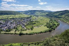 Aerial view river Moselle near Punderich, Germany Stock Image