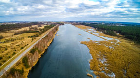 Aerial view of river Nemunas, spring tide Royalty Free Stock Images