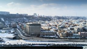 Aerial view of River Port, Podil and Postal Square in Kiev, the capital of Ukraine.  Stock Images