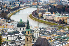 Aerial view of river Salzach in Salzburg, Austria Royalty Free Stock Images