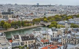 Aerial view on River Seine with bridges stock image
